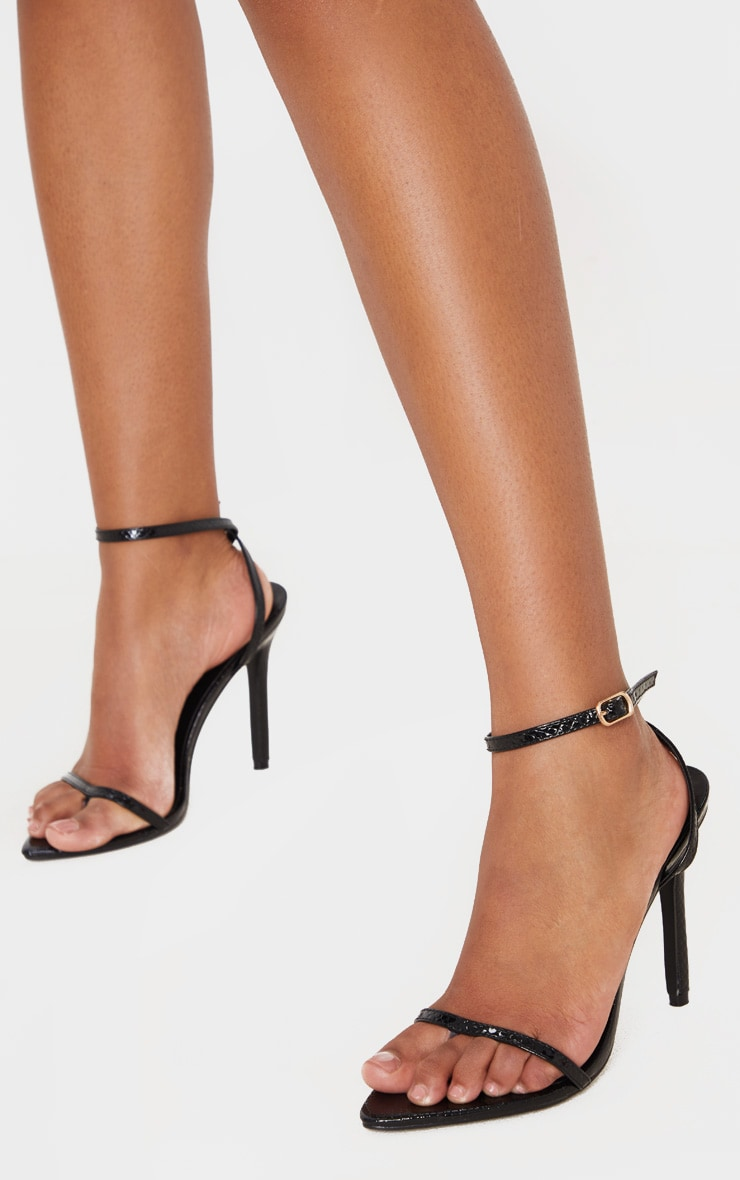 Black Snake Toe Thong Ankle Strap Point Toe Heeled Sandal 2