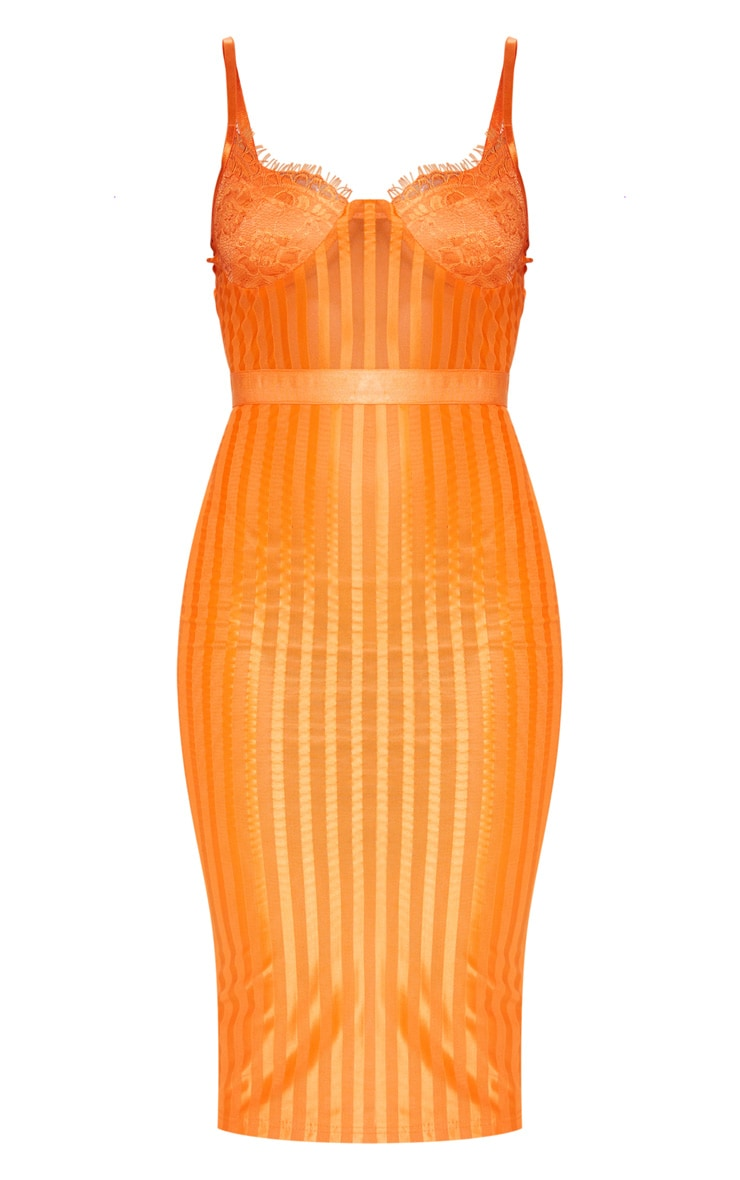 Orange Lace Detail Striped Mesh Midi Dress 3