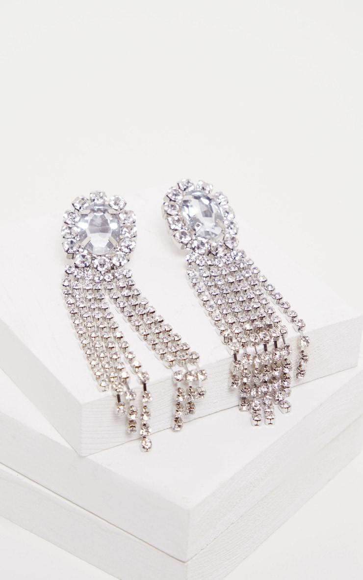 Silver Crystal Oval Tassel Drop Earrings 2