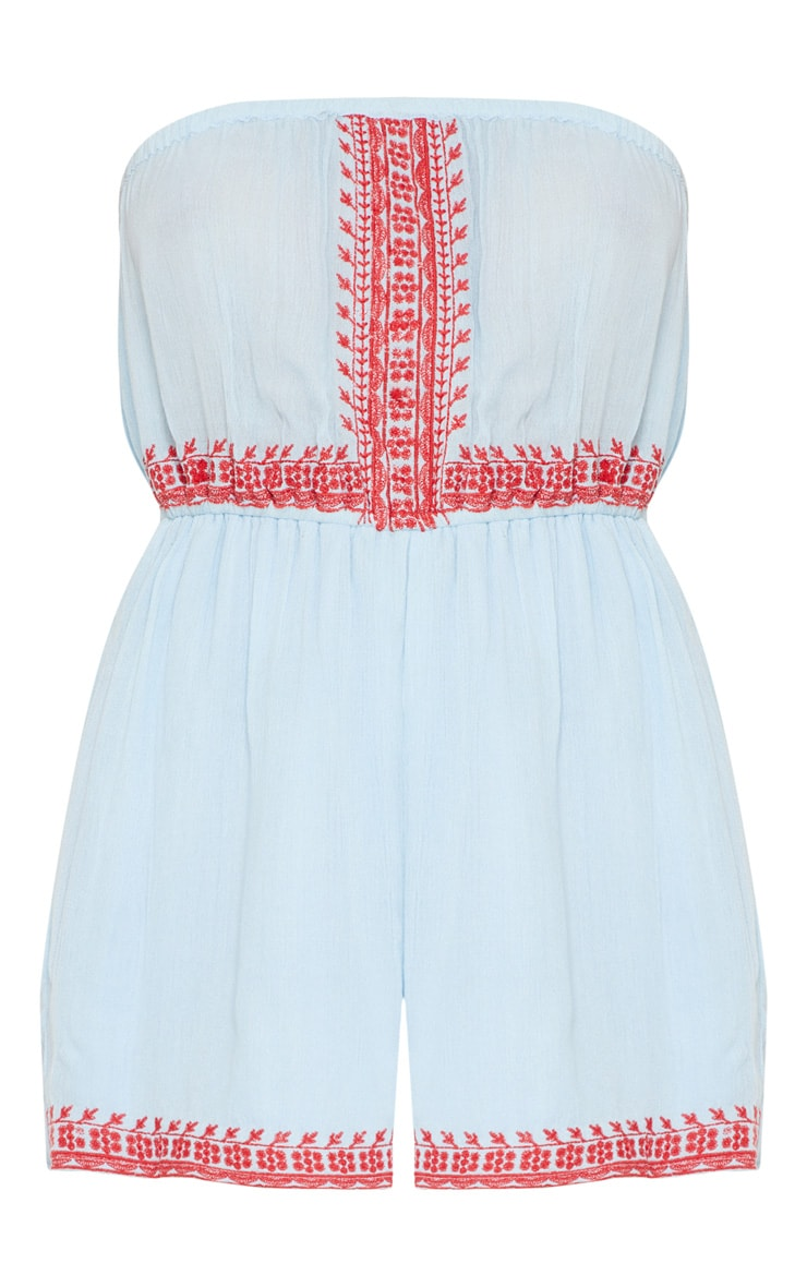 Blue Bandeau Embroidered Playsuit 3