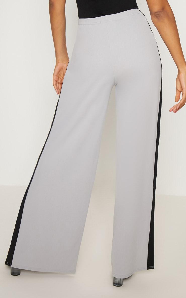 Grey Contrast Side Panel Split Hem Wide Leg Trouser 4