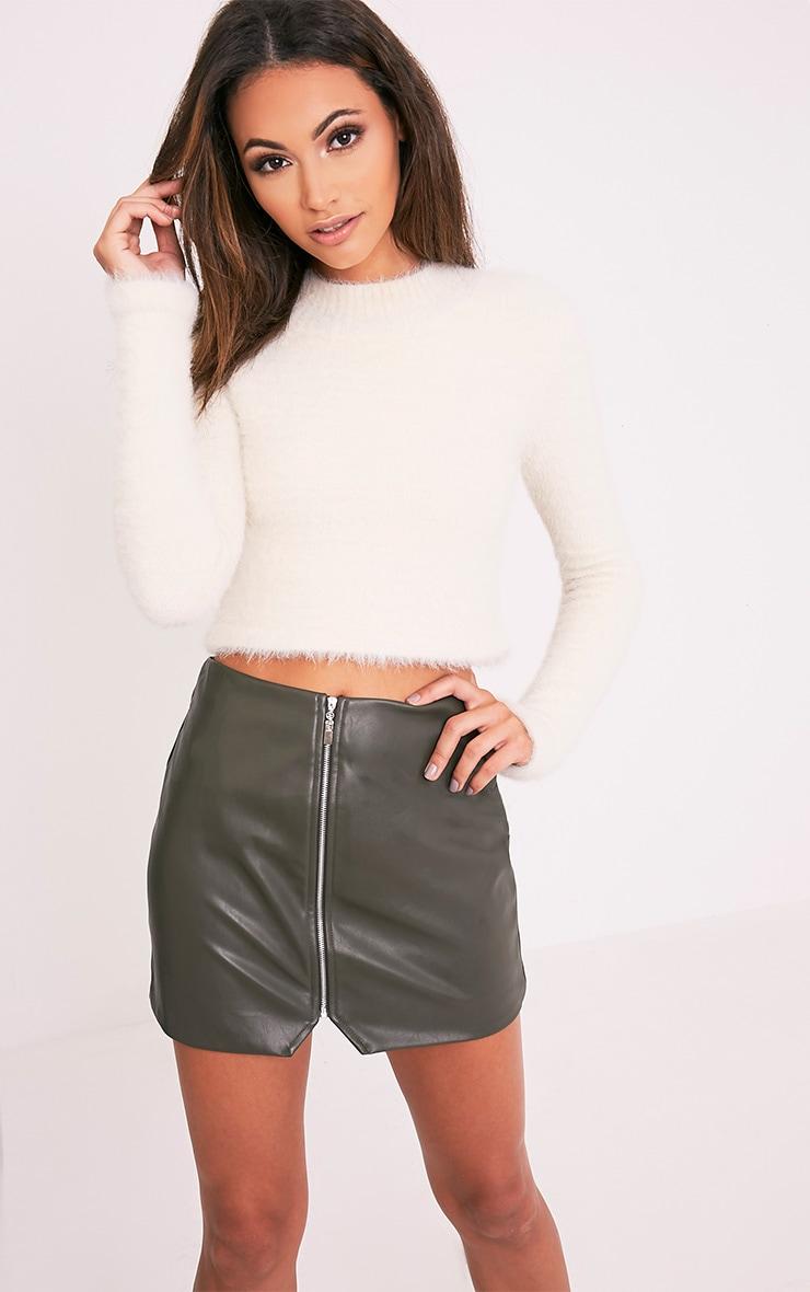 Suzy Khaki Faux Leather Zip Front Mini Skirt 1