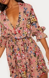 Dark Nude Floral Frill Detail Pleated Skater Dress 5