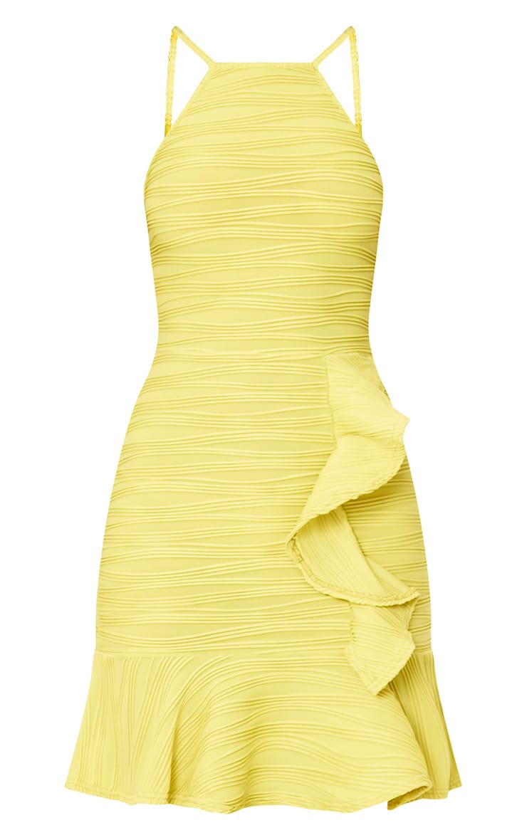 Lime Pleated Ruffle Detail Bodycon Dress 3