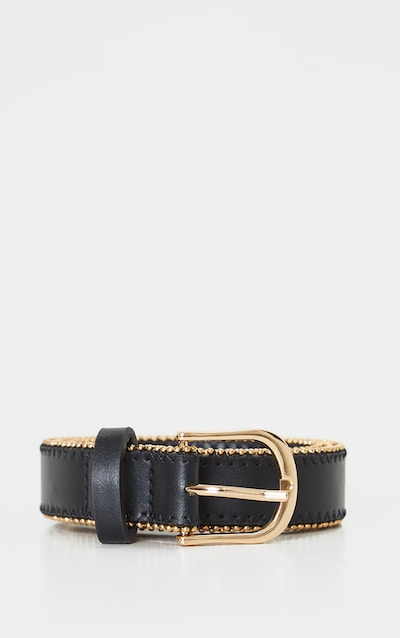 Black PU Gold Studded Edge Jeans Belt