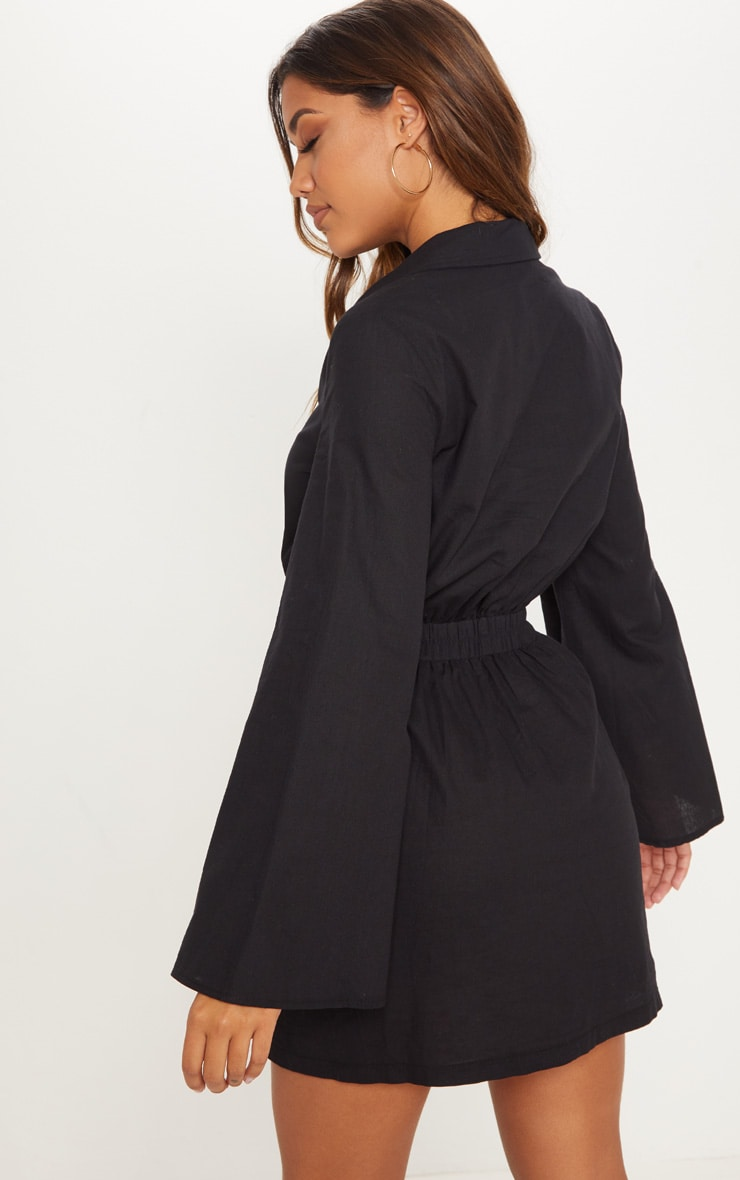 Black Button Front Elastic Waist Pocket Shirt Dress 2