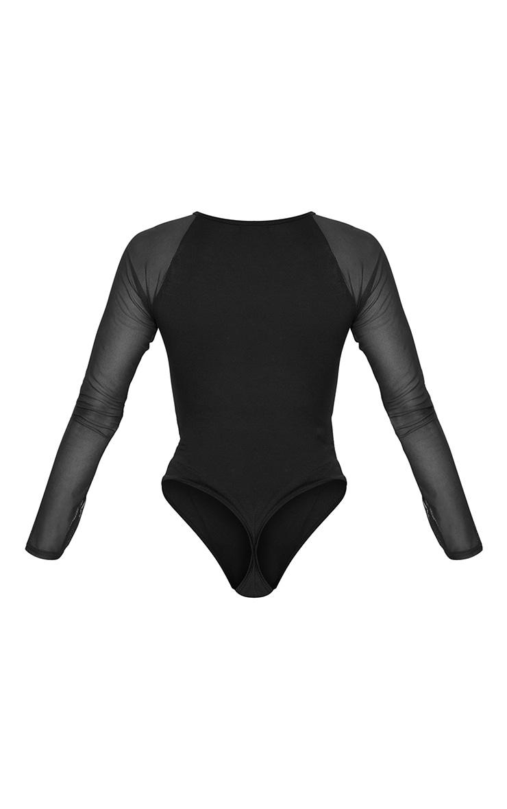 Black Crew Neck Mesh Long Sleeve Bodysuit 6