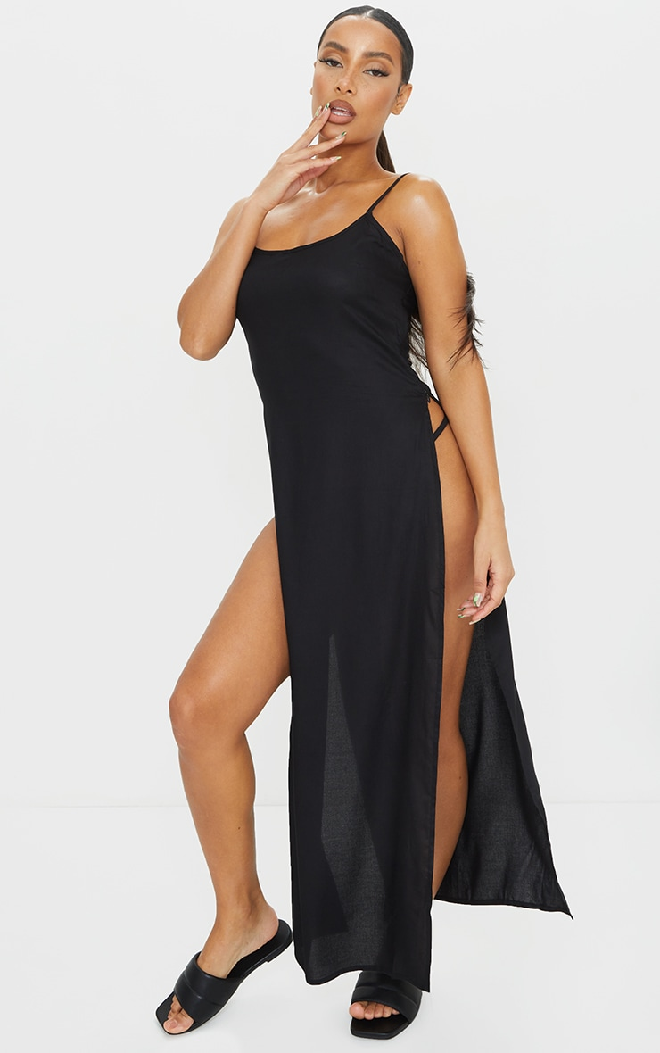 Black Cotton High Leg Split Maxi Beach Dress 3