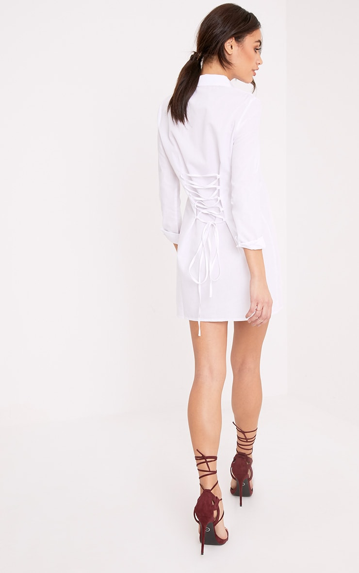 Olivia White Corset Back Shirt Dress 2