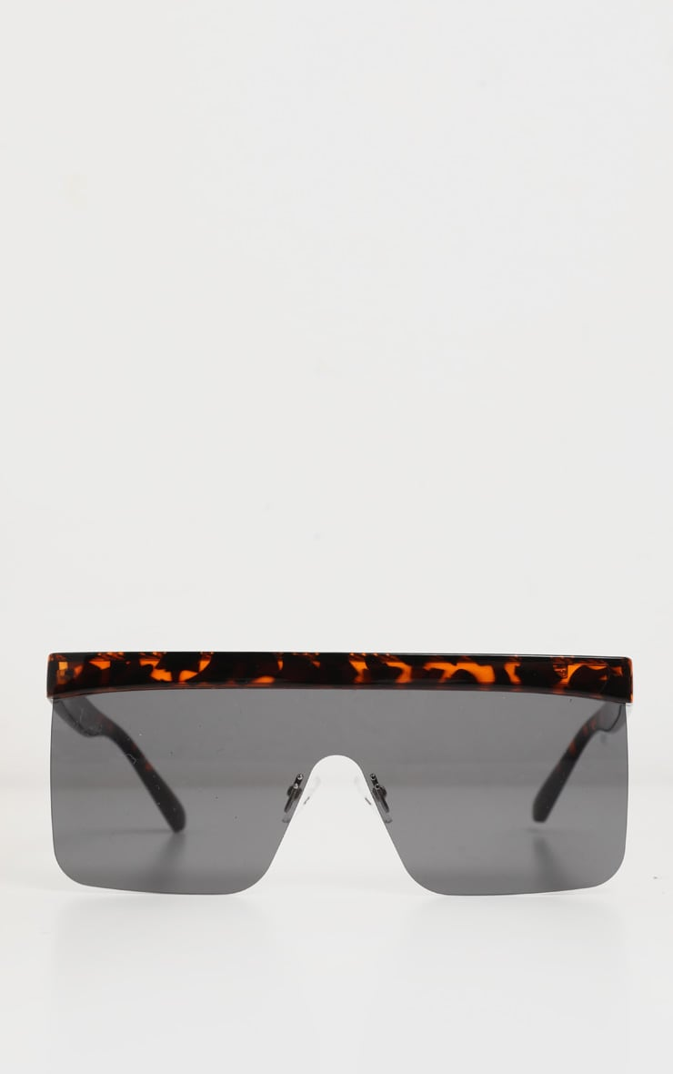 Tortoiseshell Flat Top Brow Bar Frameless Oversized Sunglasses 2