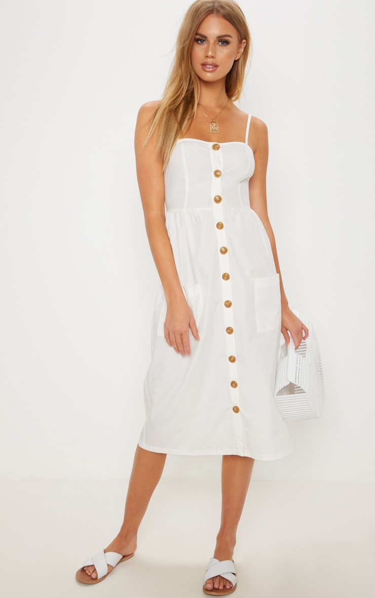 742d4ab3b989 White Button Down Midi Dress image 1