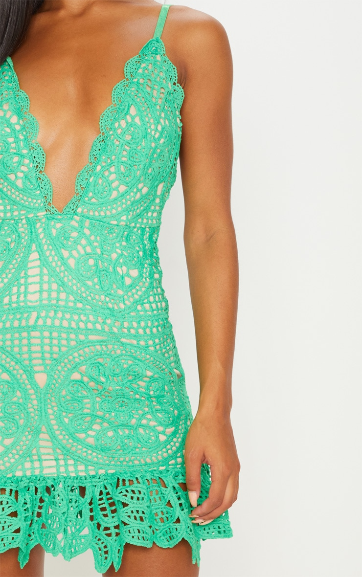 Bright Green Strappy Thick Lace Frill Hem Bodycon Dress 5