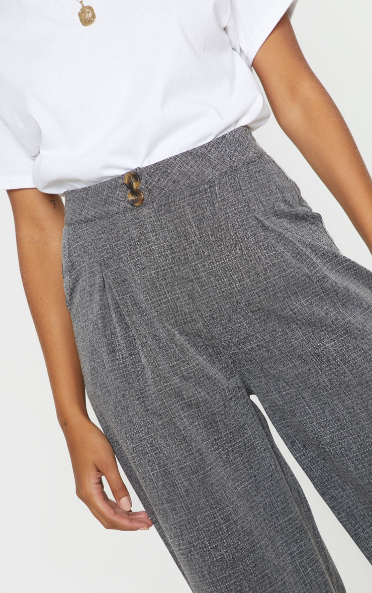Charcoal Grey Tortoise Shell Double Button Wide Leg Trouser 5