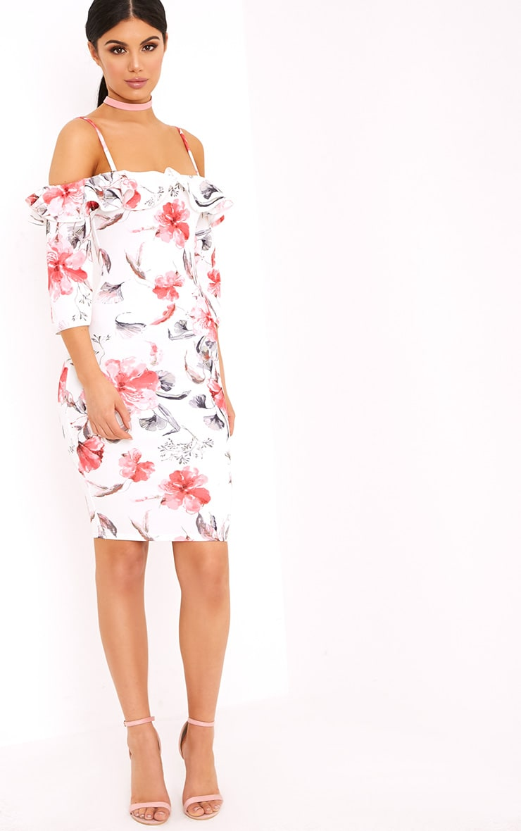 White Floral Cold Shoulder Bodycon Dress 4