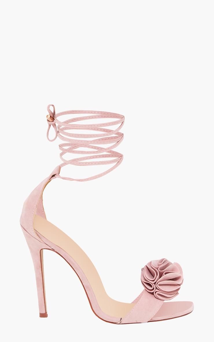 Blush Ruffle Detail Lace Up Heels  4