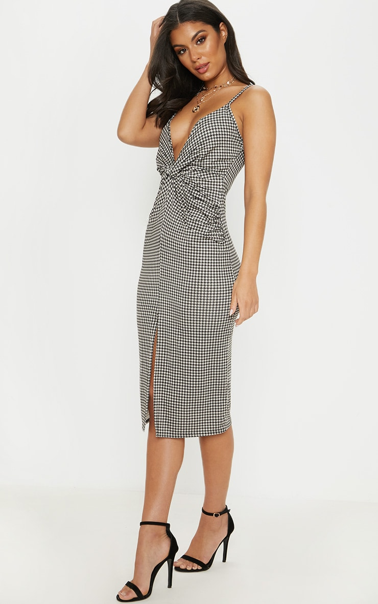 Tan Dogtooth Plunge Split Front Midi Dress 4