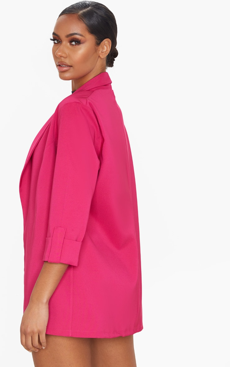Pink Woven Turn Up Sleeve Blazer 2