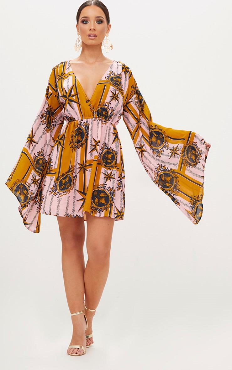 Pink Chiffon Star Print Flared Sleeve Swing Dress  4