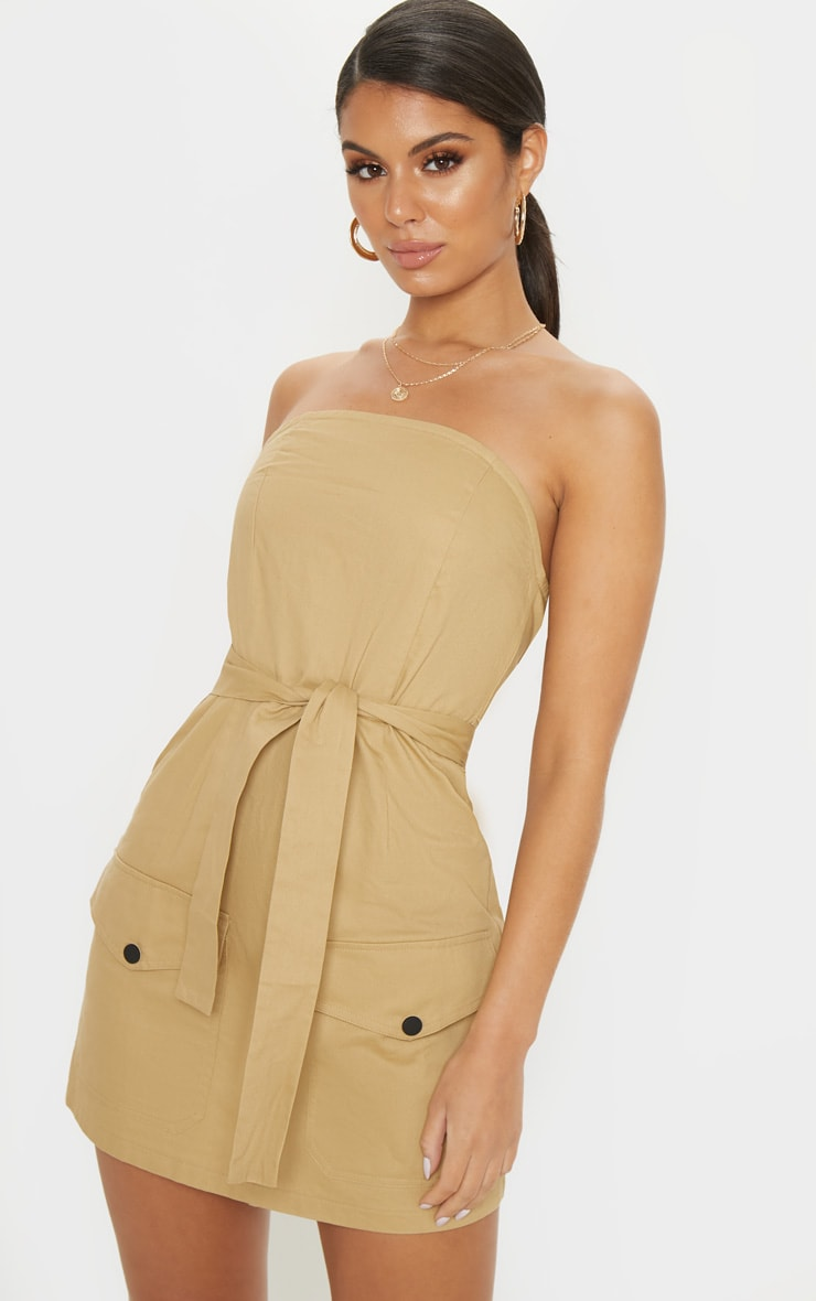 Camel Bandeau Cargo Pocket Detail Bodycon Dress  1