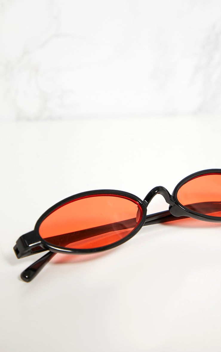 Orange Lens Small Oval Sunglasses 4