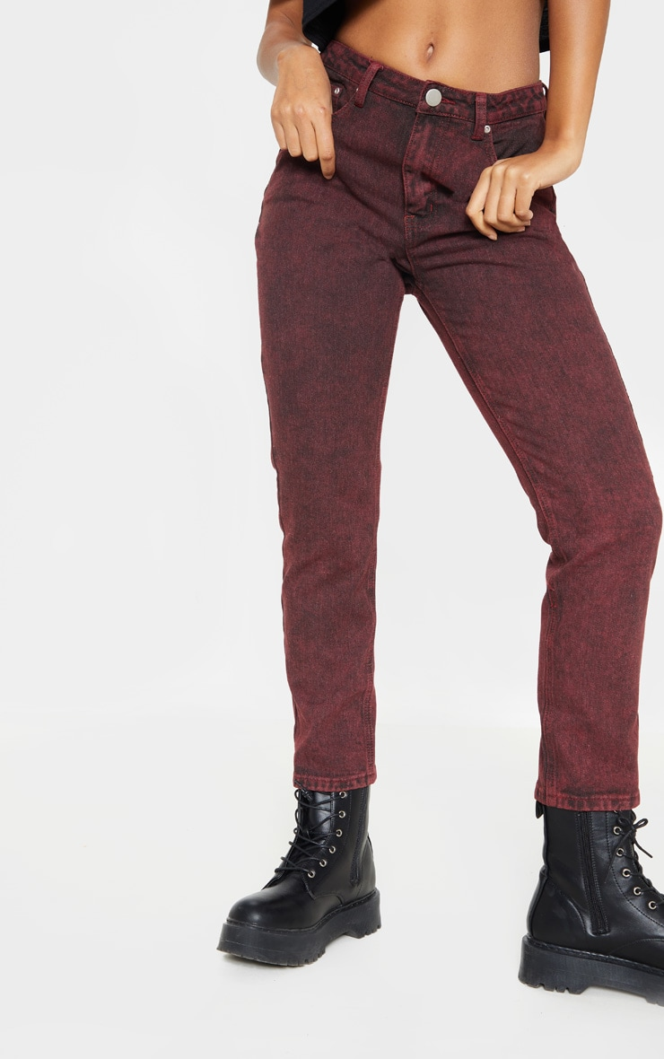 Acid Burgundy Straight Leg Jeans  2