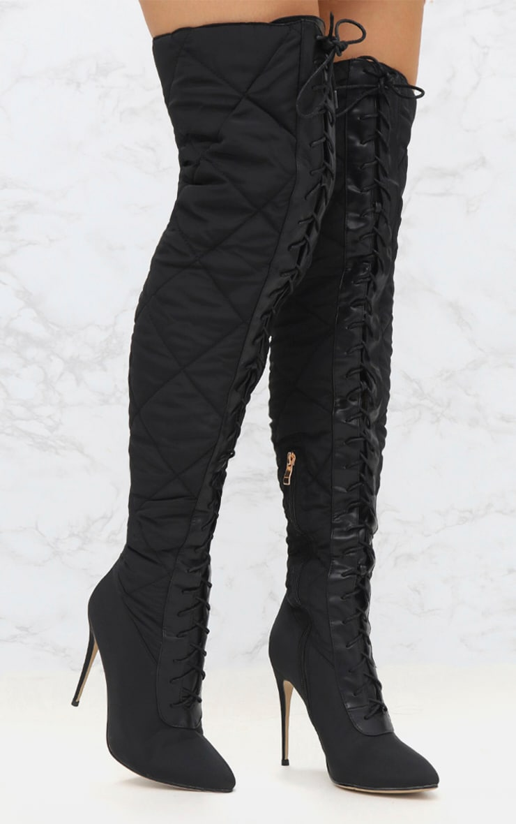 Black Thigh High Puffer Heeled Boots  1