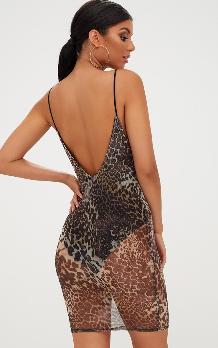 Leopard Print Mesh Bodycon Dress 2