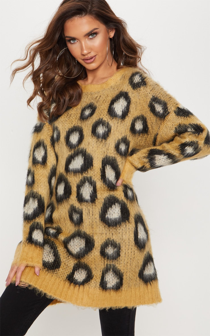 Camel Fluffy Leopard Oversized Sweater  4