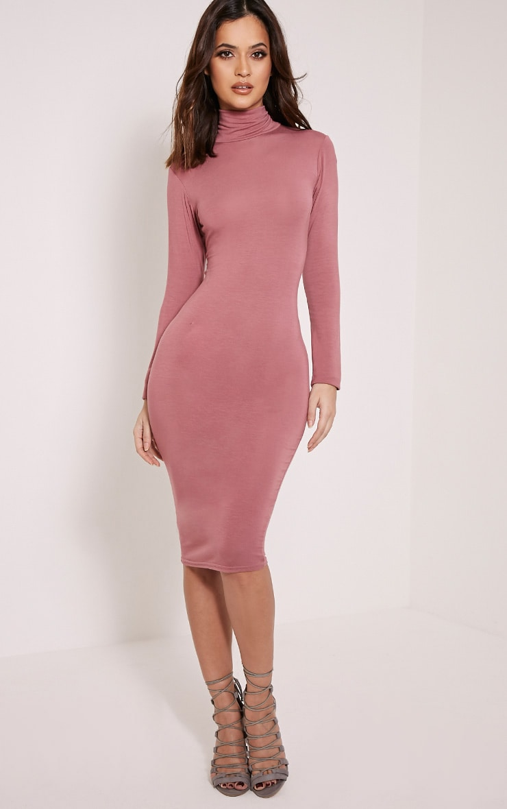 Basic robe midi col roulé rose 1