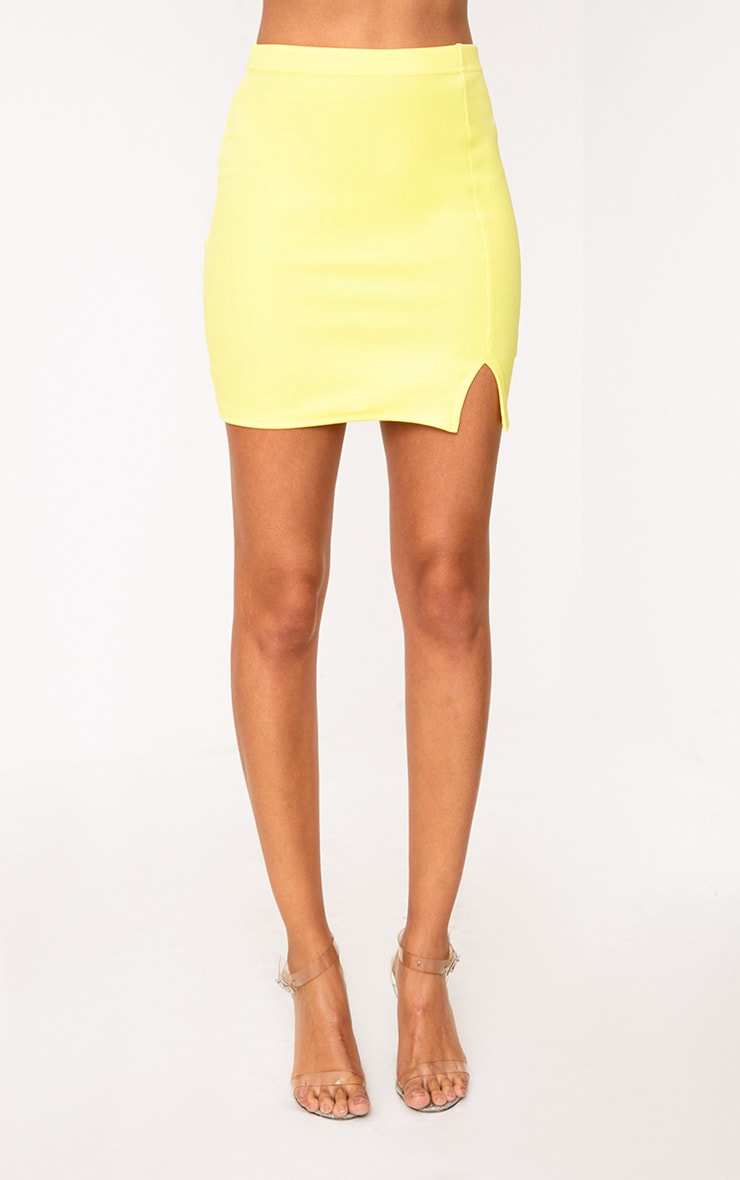 Yellow Side Split Mini Skirt  2