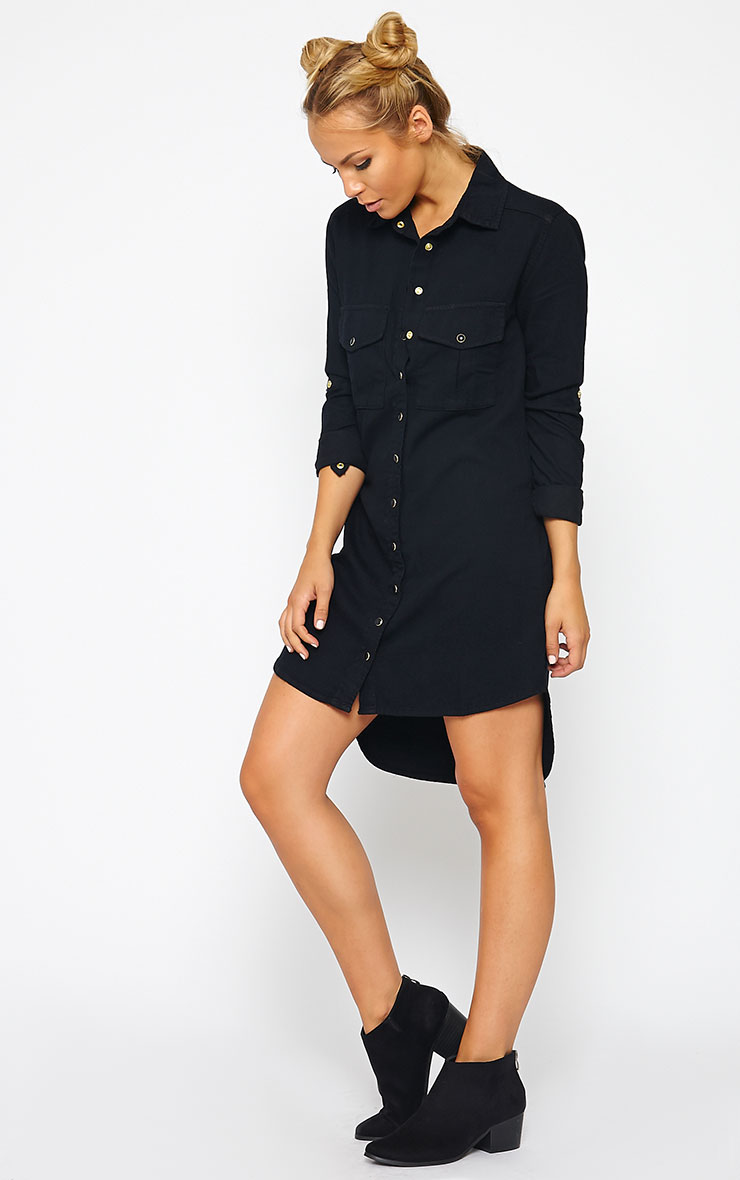 Sachi Black Denim Shirt Dress 3