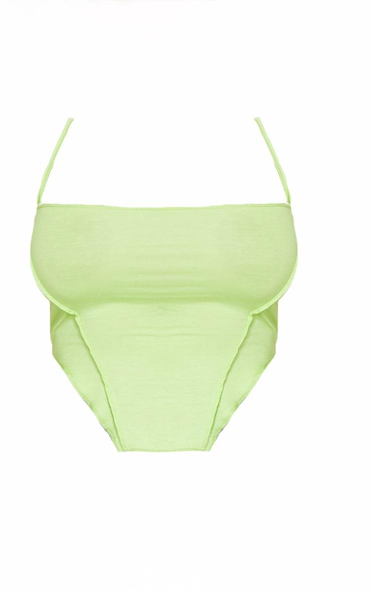 Shape Lime Jersey Overlock Curved Hem Crop Top 5