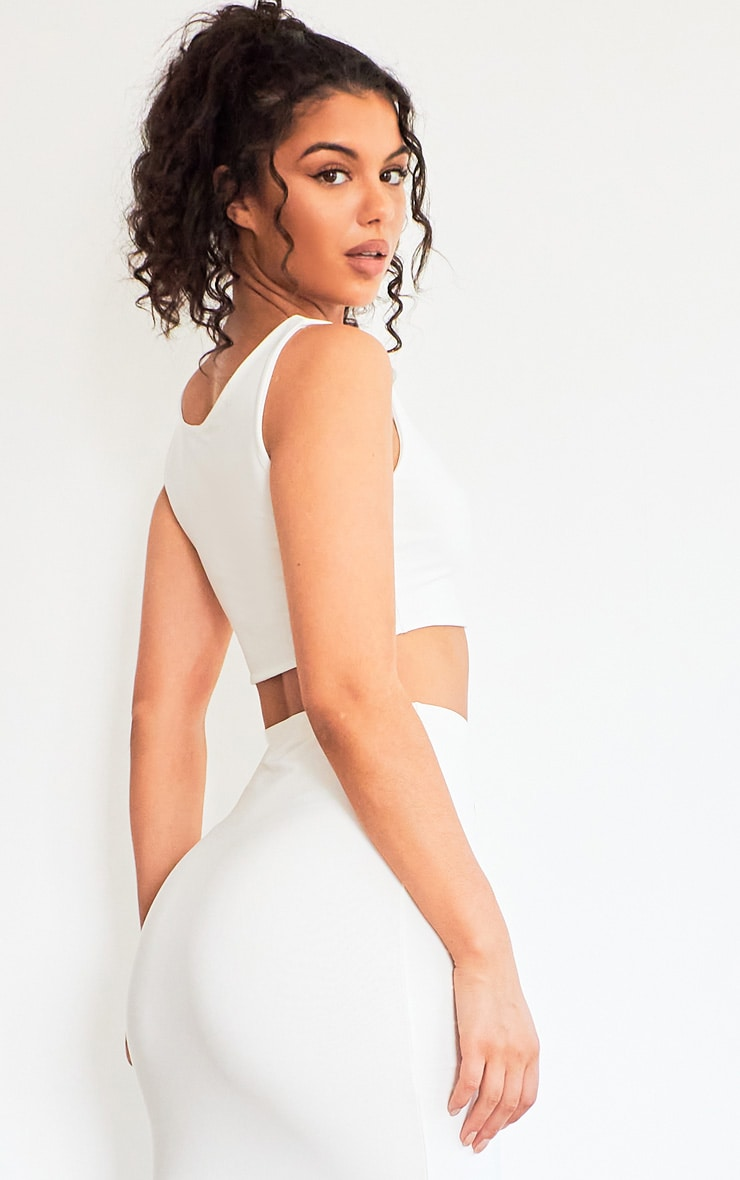 White Slinky Square Neck Sleeveless Crop Top 2