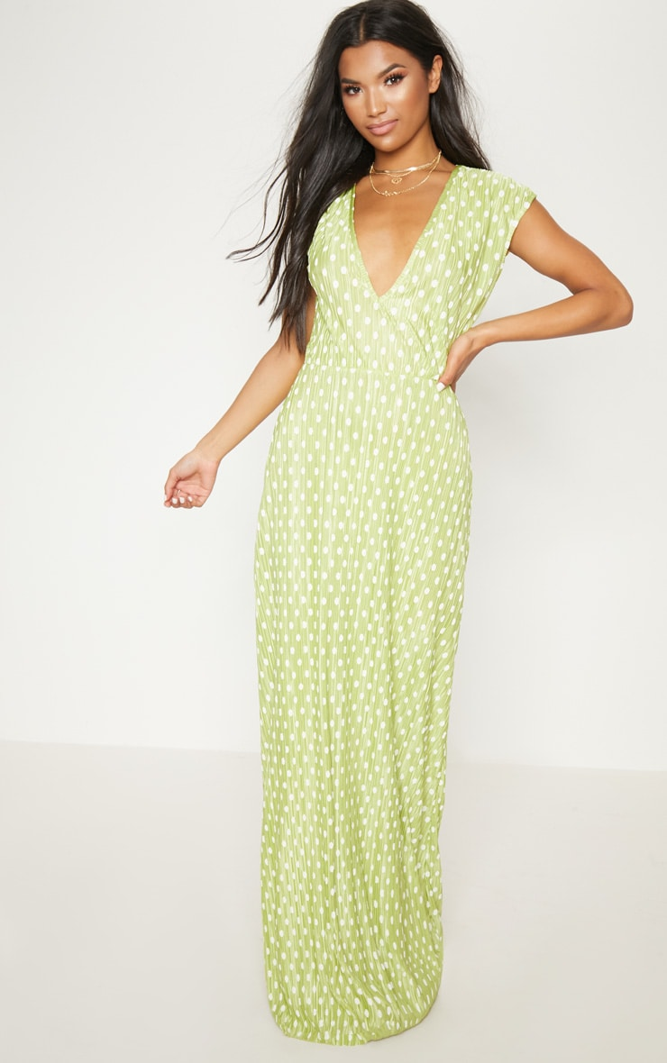 Lime Polka Dot Plisse Plunge Maxi Dress 1