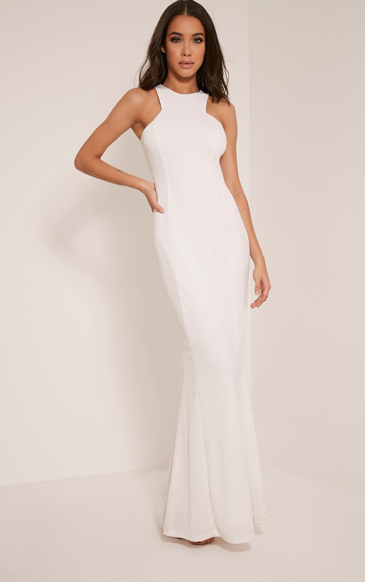Natalia White Racer Neck Crepe Maxi Dress 1