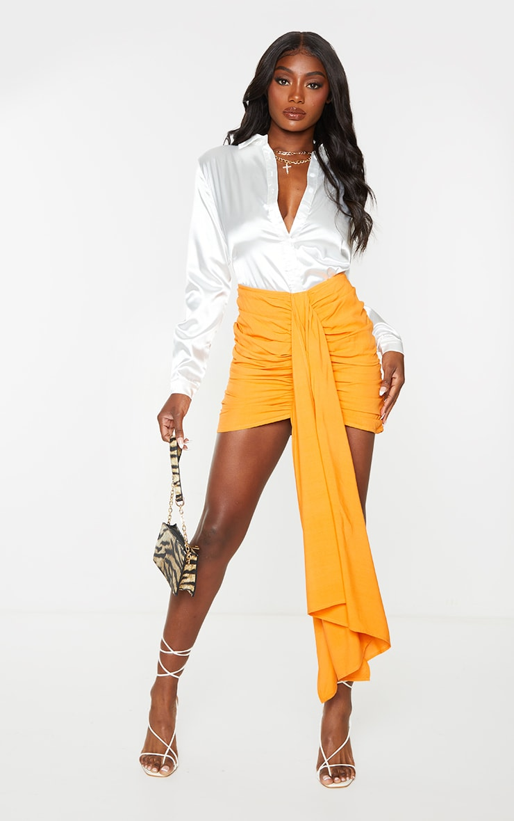 Orange Ruched Drape Front Mini Skirt 4