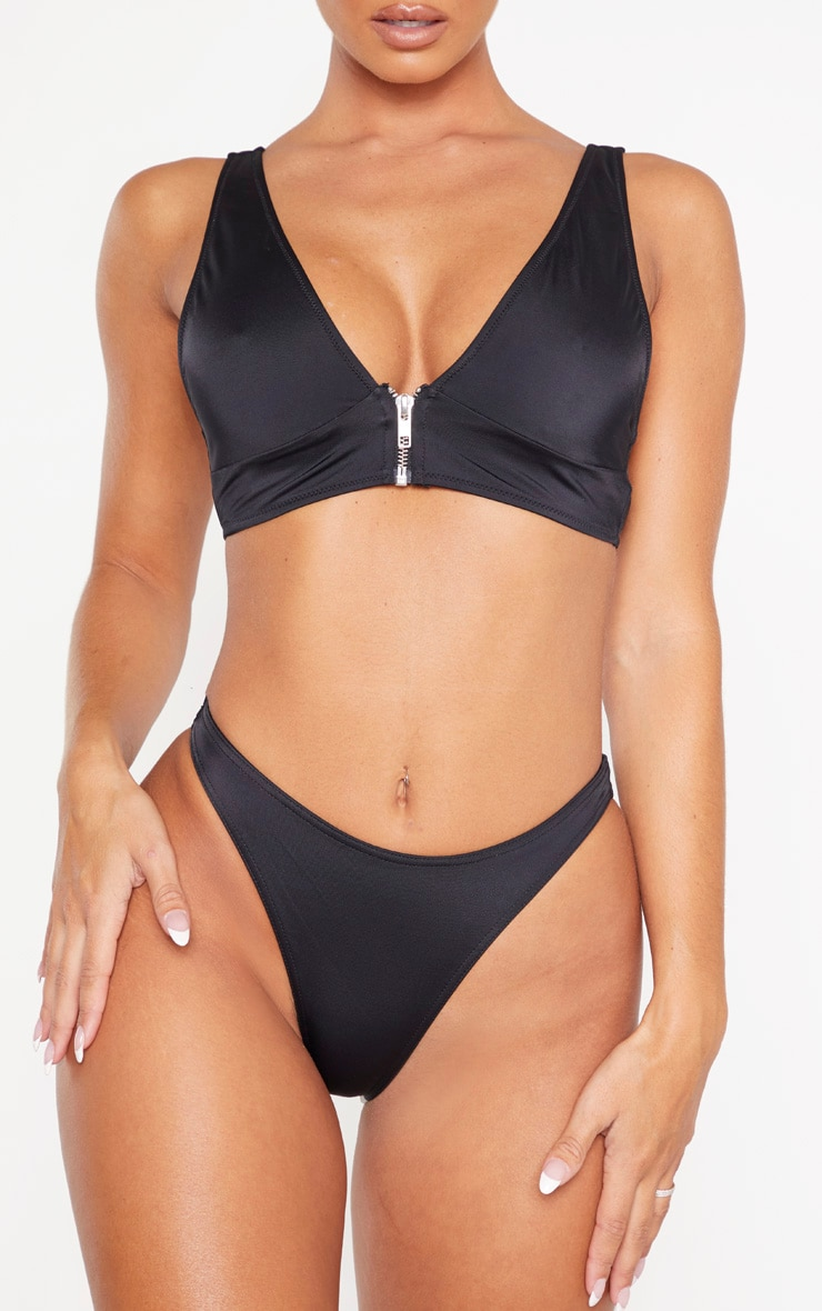 Black Recycled Mix & Match High Leg Bikini Bottom 1