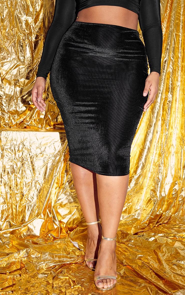 Plus Black Velvet Stripe Midi Skirt  2