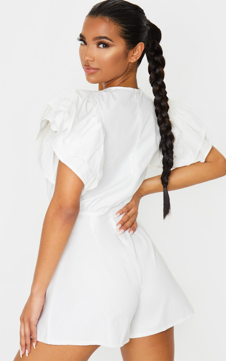White Frill Sleeve Woven Playsuit 2