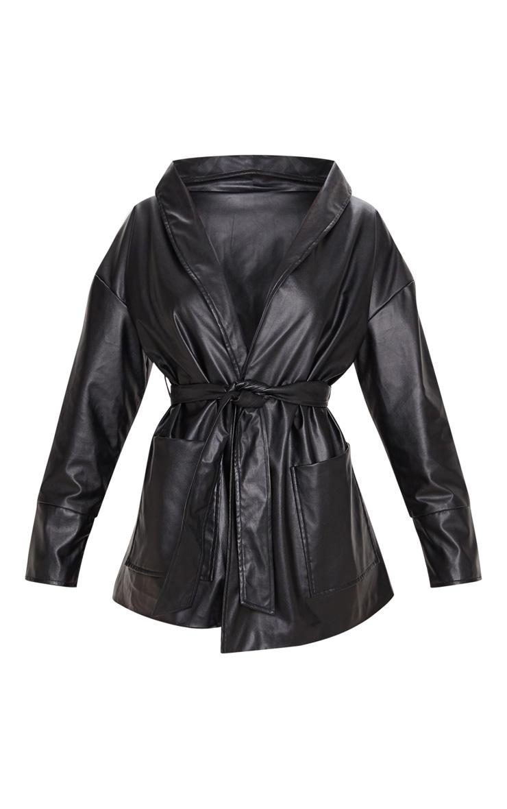 Black PU Longline Belted Jacket 3