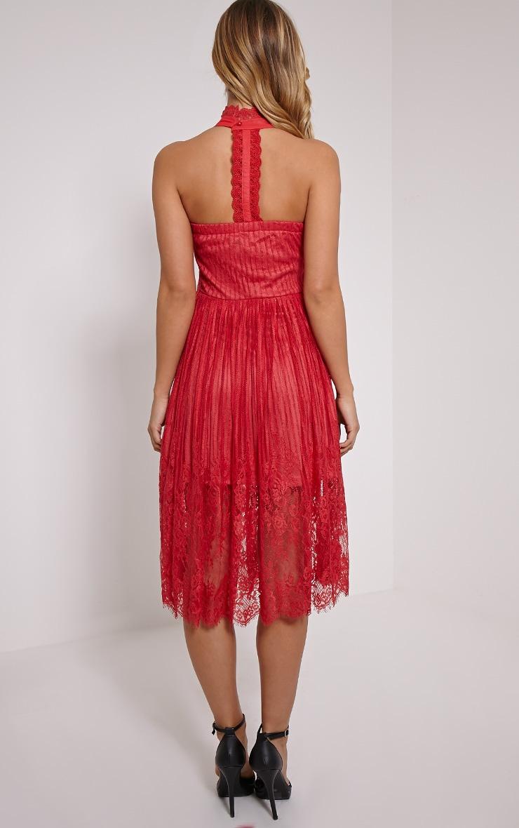 Shirl Red Racer Neck Lace Skater Dress 2