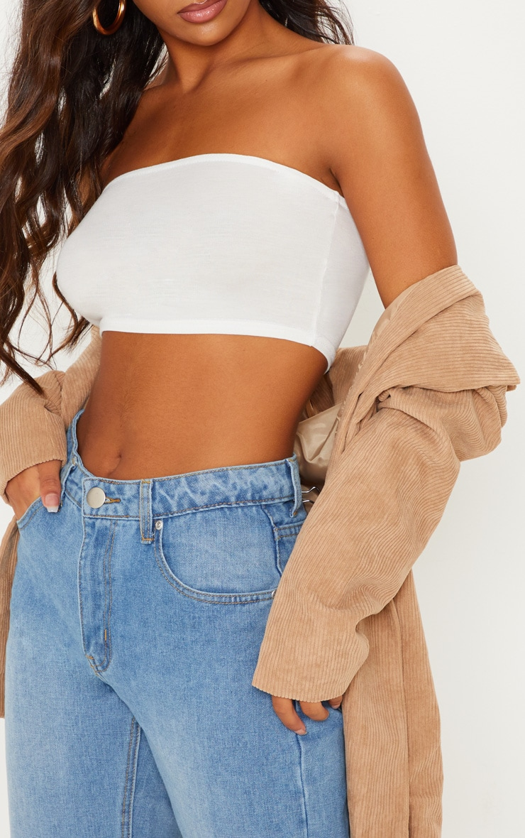 Basic Cream Jersey Bandeau Top 5