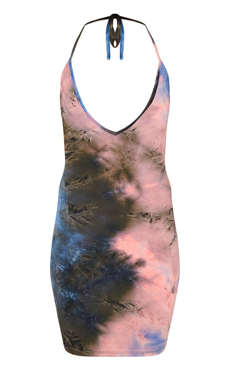 Margot Blue Plunge Tie Dye Bodycon Dress 3