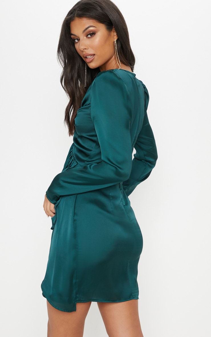 Emerald Green Satin Shoulder Pad Wrap Bodycon Dress 2