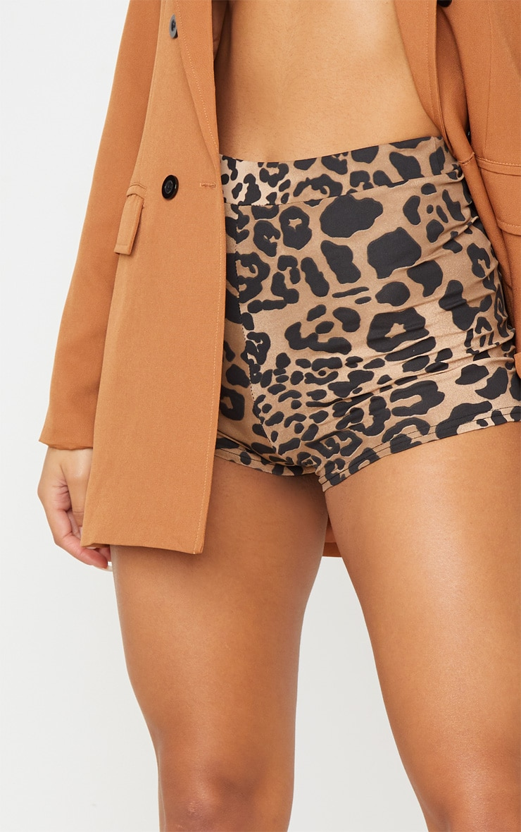 Leopard Print Jersey High Waisted Hot Pants 6
