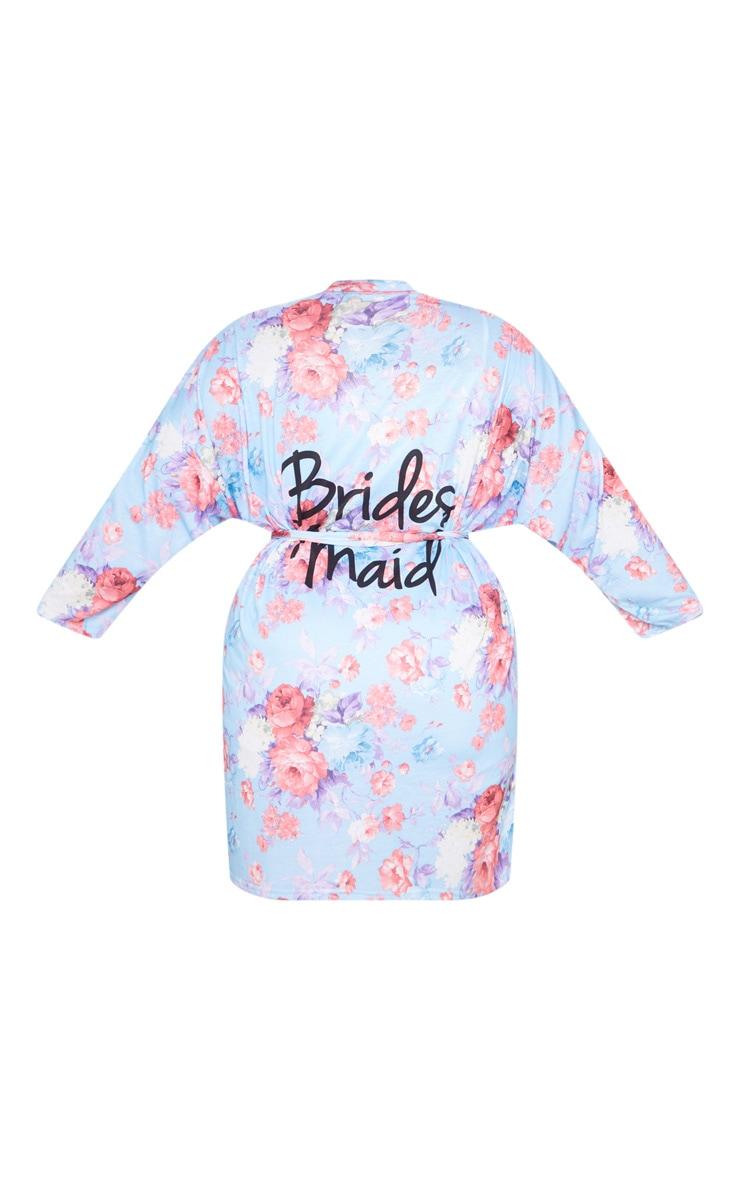 Plus Blue Bridesmaid Floral Blue Dressing Gown 5