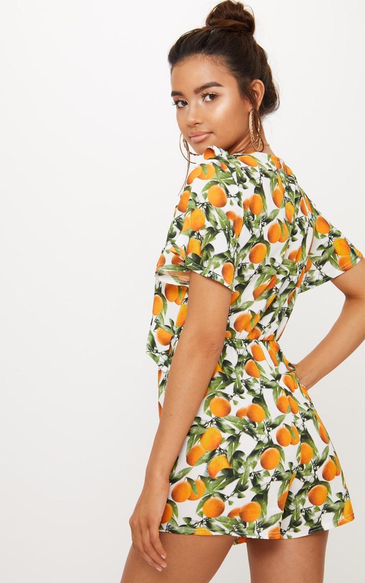 Orange Print Short Sleeve Frill Tie Waist Playsuit 2