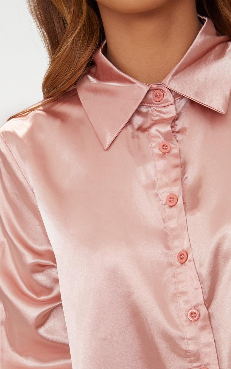 273148fa4 Petite Dusty Pink Satin Shirt | Petite | PrettyLittleThing USA