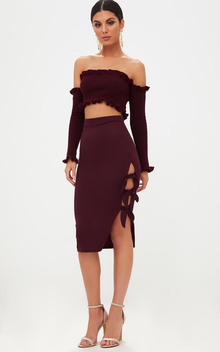 8c0f20ee28 Maroon Tie Split Midi Skirt | Skirts | PrettyLittleThing USA