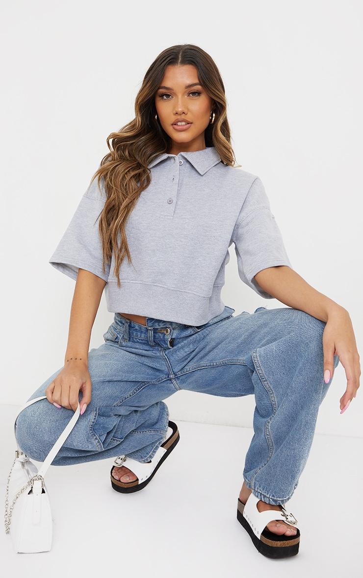 Grey Button Front Short Sleeve Crop Polo Shirt 3
